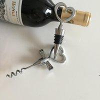 O abridor de garrafa de vinho abridor em forma de grande combinação sorkscrew e stopper sets coração sets casamento favores presentes fwb8906
