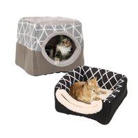 Cat Beds & Furniture Pet Dog Bed Soft Nest Dual Use Sleeping Pad With Pillow Cozy Kennel For Small Dogs Cats Puppy Supplies