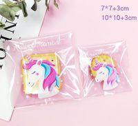 400pcs / lot 자체 접착제 봉인 빵 플라스틱 랩 가방, 10x10cm, 7x7cm 선물 가방, 귀여운 핑크 유니콘 쿠키 사탕 파티 포장