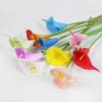 PU Flores Artificiais Calla Lily Real Touch Buquê Nupcial Alta Qualidade Flor Falso Casamento Da Flor Decoração Da Tabela Do Outono 10 pcs