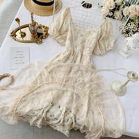 2021summer Fairy Dress Donne da donna stile francese vintage retrò chiffon vestito a maniche a soffio casual elegante stampa floreale vestito donna 2021 nuovo