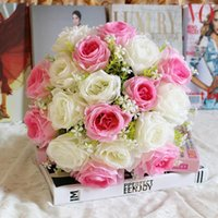 Decorative Flowers & Wreaths 18head Beautiful Hydrangea Roses Artificial For Home Wedding Decorations High Quality Autumn Bouquet Mousse Fak