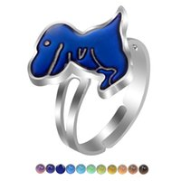 Cluster Rings JUCHAO Mood Ring For Women Temperature Control Color Dinosaur T-Rex Adjustable Girl Magical Strange Jewelry