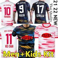 RB Leipzig Camisa de futebol Rbl soccer jerseys 2021 2022 Novo Szoboszlai Poulsen 20 21 Leipziges Jerseys Angelino Nkunku Adams Olmo Kluivert Homens Kits Kits Football Shirts