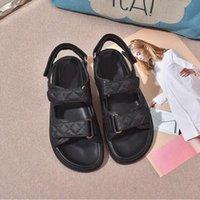 2021 дизайнерские женские сандалии черная белая сетка узор волшебные палочки ботинки универсальные повседневные спортивные сандалии липучки плоский стилист с коробкой