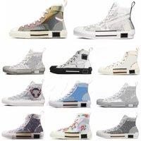 2021 Fashion B23 Designer Sneakers Obliques Obliques Zapatos Casuales Cuero Técnico Alto Flores Bajo Plataforma Zapatilla de deporte al aire libre Lienzo Vintage Encaje