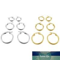 3 pairs 15mm 20mm 25mm Stainless Steel Hoop Huggies Earrings Set Woman Gold