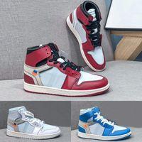Yüksek OG 1S Kapalı Ortak Tasarlanmış UNC Chicago 1 Basketbol Ayakkabı Univisity Mavi Kırmızı Beyaz Kuzey Carolina Chaussures Spor Sneakers Açık