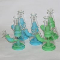 7.5 Inch Shisha hookahs glass dab rigs silicone bong water pipe with smoking bowl portable hookah unbreakable food grade