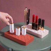 Makeup Organizer Silikon-Lippenstift-Rack-Kosmetik-Aufbewahrungsbox Display-Halter-Gehäusebürste für Desktop-Boxen-Bins