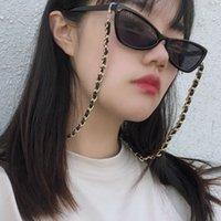 Punk Mode 2021 Lesebrille Kette PU Leder Brillen Sonnenbrille Gold Farbe Brillenkabel Hals Strap Schneidekette Eyewear