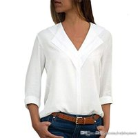 Women Blouses Spring Designer V Neck Shirts Casual Holiday Ladies Panelled Blouse Fashion Pure Color
