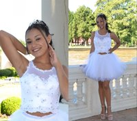 Elegant White Two Pieces Short Homecoming Quinceanera Dresses Jewel Neck Lace Tulle Ruched Beaded Mini Party Graduation Cocktail Dress