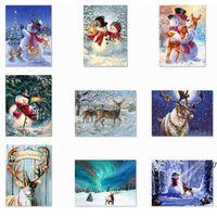 5D DIY Christmas Full Drill Rhinestone Diamond Painting Kits Cross Stitch Santa Claus Snowman Home Decor AHA6242