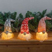 Decorations small night forest old man with light dwarf faceless doll pendant luminous Christmas Tree PendantXYM