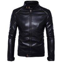Men's Fur & Faux Streetwear 2021 Fall Motorcycle PU Leather Fashion Stand Collar Long Sleeve Zipper Patch Shoulder Moto Biker Jackets Men M-