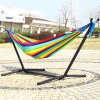 Полоса радуга супер мягкий нейлон гамак двойные люди спортивный сад висит стул 200 * 120см взрослый ребенок качели с железной рамкой наружные игры