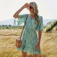 Casual Dresses Fashion V Neck Short Sleeve Beach Mini Woman Dress Summer Floral Print Boho Loose For Women Femme Robe
