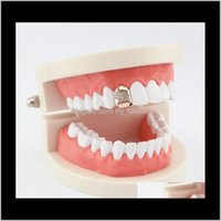 Grillz, Drop Delivery 2021 Hip Hop Single Tooth Grillz Tilt Diamonds Real Plated Rappers Dental Grills Cool Music Body Jewelry Golden Sier Ro