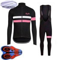 Homens Inverno Ciclismo Jersey Terno Rapha Team Bike Camisa Bib Calças Definir Thermal Fleece Quente Manga Comprida Bicicleta Outfits S21040902