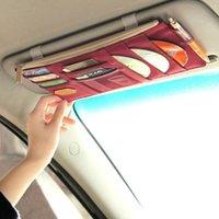car Multi-functional Auto Car Sun Visor Sunglass Holder Card CD Storage Holder Inner Pouch Bag