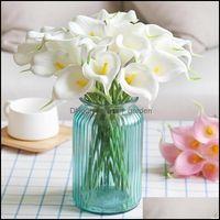 Couronnes décoratives Festive Party Fournitures Garden5 / 10 Têtes Colorf Real Touch Calla Lily Fleur Artificielle Bouquets Mariage Mariage Decor DIY DIY