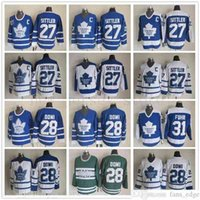 토론토 메이플 leafs 27 Darryl Sittler 아이스 하키 유니폼 빈티지 클래식 75 주년 기념 28 클로드 GiroUX 31 Grant Fuhr Blue White C 패치