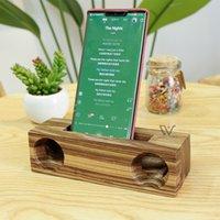 Altavoces portátiles Universal Retro Maple Wood Soporte de muelle para Escritorio Sound Altavoz Soporte Soporte Montos Titulares