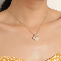 Pendant Necklaces Women Necklace Exquisite Fashion Gold Color Chain White Jade Surprise Gift For Girlfriend Party Dance