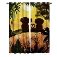 Curtain & Drapes Sunset Jungle Lover Monkey Window Curtains Bathroom Kitchen Kids Room Treatment Valances