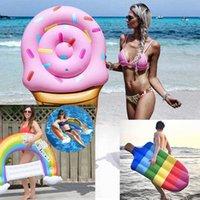 Şişme Yüzme Halkası Gökkuşağı Sandalye Dondurma Popsicle Havuz Şamandıra Yetişkin Çocuklar Için Renkli Su Oyuncakları Yaz Plaj Parti Yaşam Yelek Şamandıra