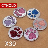 CTHOLD 30pcs lot circle dog paw shape id tag Glitter Stainless steel 3D blank Pet supplies Collar Accessories Engraved Tell H0914