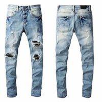 2021 Pants Jeans Denim jean's Slim Mens Ripped Motorcycle Hip Distressed Biker Hop Skinny Fashion Trousers Fit pant fashions Men Moto Designer clothes luxury 28-40