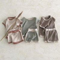 Clothing Sets Korean Style Baby's Distressed Color Casual Sports Short Sleeve Suit For Boys And Girls Summer Cotton Two-Piece