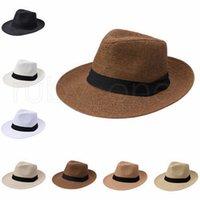 قبعة الشاطئ قبعات القش في الهواء الطلق الاجازات قبعة أزياء للجنسين القبعات الصيف الشمس الشاطئ العشب جديلة فيدورا تريلبي واسعة بريم القش قبعة RRA4237