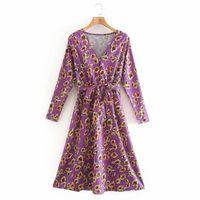 Casual Dresses Fashion Women Floral Printing Violet Midi Dress Female V Neck Sashes Long Sleeve Clothes High Street Loose Vestido D6998
