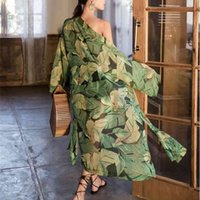 TEELYNN green floral print chiffon kimono women blouse shirts long sleeve summer robe boho beach wear bikini cover up vestidos 210719