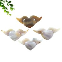 Wholesale Natural Hand Carving Crystal Decoration Agate Flying Hearts Gem For Gift Smy Decorative Objects & Figurines