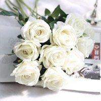 Flores de Seda Artificial Rose Flor Real Touch Peônia Partido Decorativo Flores Falso Casamento Noiva Buquê Decoração de Natal 13 Cores DHF6724