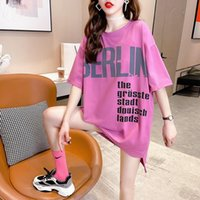 Women's T-Shirt Summer 2021 Fashion Front Short Back Long Plus Size Loose Round Neck Short-Sleeved Top Tide H036