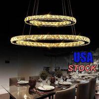 Lampadari in cristallo Moderna LED LED Plafoniere Fixtures Illuminazione Sala da pranzo Ciondolo Contemporaneo 2 3 4 Anelli Cavo regolabile in acciaio inox regolabile Design fai-da-te