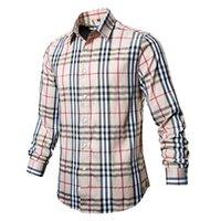 Primavera personalizada xadrez padrão camisa masculina de manga longa clássico moda diariamente casual cor de trabalho de cor camisa4dhl