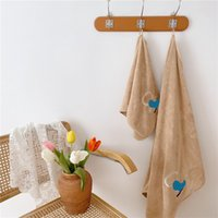 Lovely Animated Character Towels Letter Embroidery Cotton Absorbent Bath Towel For Family Trip 2 Pieces Set