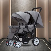 Strollers# Twin Baby Stroller Can Sit And Lie Carriage Four Wheel Highland Scape Lightweight Double Seat Carts 0-4 Years Old