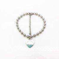 Logo Corazón pulsera con cuentas hembra hebras cadena de lujo en mano acero inoxidable joyería de moda día de San Valentín regalo de Navidad para accesorios para novia al por mayor