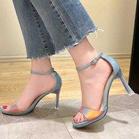 Designer booties Sandals Fashion Mix Color Super High Heels Women Simple Ankle Wrap Party Pumps Woman Open Toe Platform Shoes Ladies KLCK winter ballet