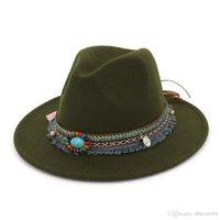 Best HOAREE Gray Fedora Hat Ladies Vintage Felt Hat Women Casual Ethnic Style Wide Brim Woolen Autumn Winter 2020 New Trilby Cap