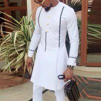 Men's T-Shirts Clothes Tshirt Man Dashiki Traditional Tee Shirt Long Sleeve Tops Autumn Fall 2021 Male White Clothing