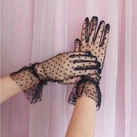 Fünf Fingers Handschuhe Frauen Sheer Spitze Kurz Tüll Volle Finger Vintage Polka Dot Rüschen Trim Mesh Wedding Prom Abend Party Handschuhe