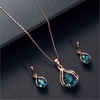 Earrings & Necklace 3pcs set Gold Color Jewelry Sets Wedding Beads Crystal Bridal Jewellery Set